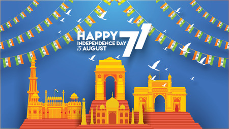 vector illustration of Famous monument of India background for 15th August Happy Independence Day. 71 years of Freedom indian