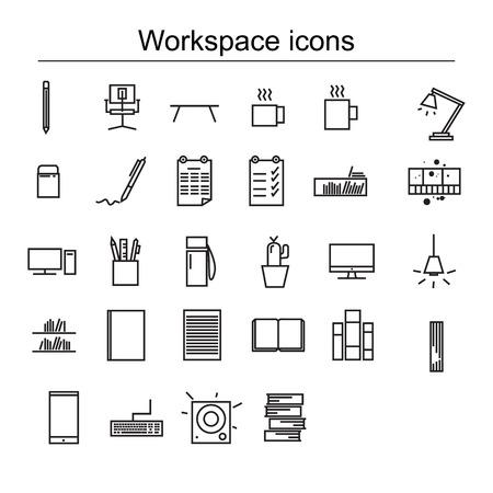 set di icone dell'area di lavoro, contorno in bianco e nero