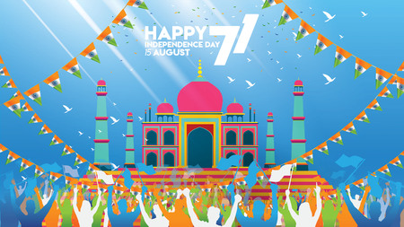 vector illustration of 15th August india Happy Independence Day. 71 years of Freedom indian