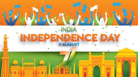illustration vectorielle du 15 août Inde Joyeux Jour de l'Indépendance. 71 ans de liberté indienne Vecteurs