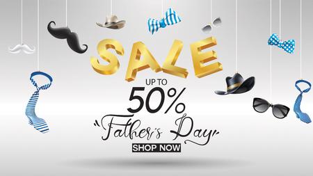 해피 아버지의 날, 판매 크리에이 티브 프로모션 포스터 또는 배너 쇼핑 템플릿 디자인 50% 할인 제공. 글자 배경으로 3 차원 개념 벡터 일러스트 레이 션