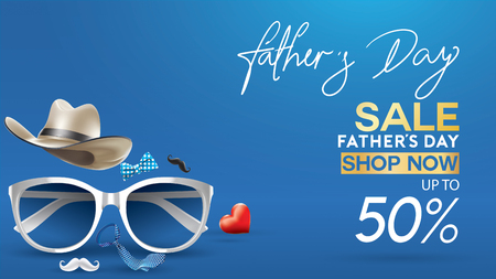 Happy Father's Day, Sale Creative promotion Poster or banner shopping template Design with 50% Off Offers. three dimensional concept vector illustration with lettering background Иллюстрация
