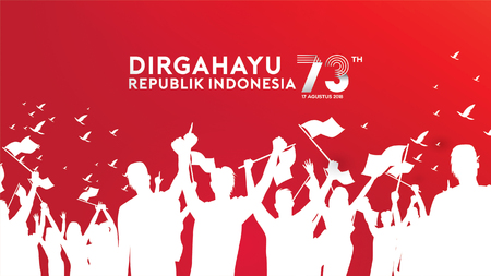 17 de agosto. Fondo de textura, banner y tarjeta de felicitación de feliz día de la independencia de Indonesia
