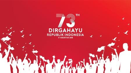 17 agosto. Biglietto di auguri per il giorno dell'indipendenza dell'Indonesia, banner e logo di sfondo texture Logo