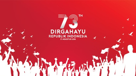 17 August. Indonesia Happy Independence Day greeting card, banner, and texture background logo
