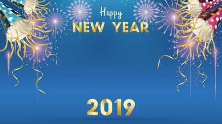 2019 Happy New Year Background for Seasonal Flyers and Greetings Card or invitations background with fireworks. simple modern and stylized vector