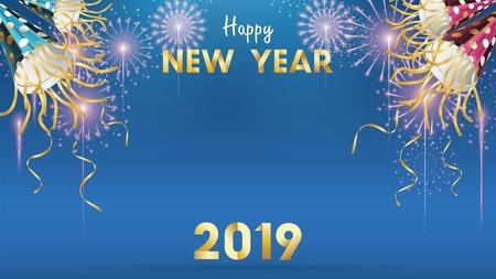 Sfondo di felice anno nuovo 2019 per volantini stagionali e biglietto di auguri o sfondo di inviti con fuochi d'artificio. vettore semplice moderno e stilizzato