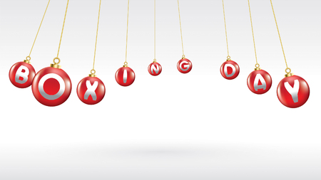 Boxing day vector illustration.Typography combined in a shape of red christmas ball