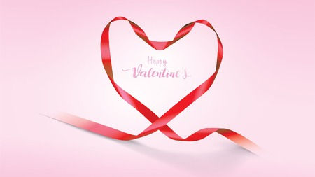 Beautiful Valentine's Day background with red silk ribbons and shape of hearts