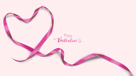 Beautiful Valentine's Day background with violet silk ribbons and shape hearts purple color Illustration