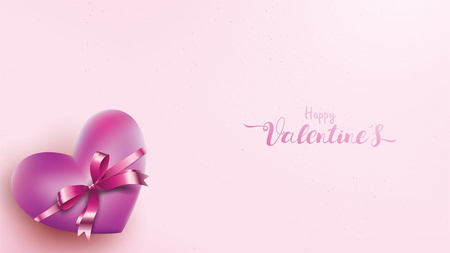 Valentines heart. Decorative love pink background with hearts and violet ribbon