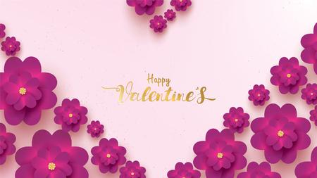 Carte de voeux Happy Valentines Day avec rose fleur rose et violet. concept de fond floral adapté au texte de l'espace de copie Papier peint, flyers, invitation, affiches, brochure, bannières