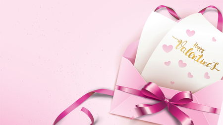 Happy Valentines Day greeting card with pink envelope and purple heart. Gold valentine ribbon concept text suitable for banner, poster, advertising and promotion background