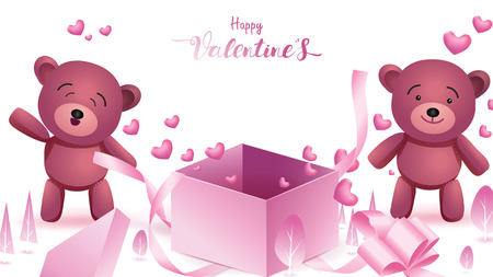 Cute and sweet elements in shape of heart, box of gift, teddy bear flying on pink background. Vector symbols of love for Happy Women's, Mother's, Valentine's Day, birthday greeting banner design