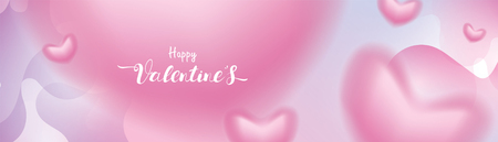 Valentine day 3D pink Romantic Hearts shape blurry flying and Floating on abstract pastel liquid background. symbols of love for Happy Mother's, Valentine's Day greeting card design banner Illustration