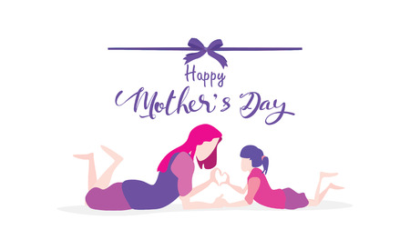 Happy mothers day! Cute little boy congratulates mom with dancing, playing, laughing, and together showing heart shape symbol. Vector illustration flat design style. Flat cartoon style. - Vector