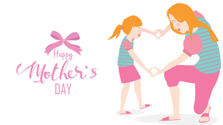 Happy mother's day! Cute Child daughter congratulates mom dancing, playing, laughing, and showing heart shape symbol. Colorful vector illustration flat design style. Flat cartoon style. - vector