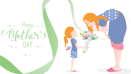 Happy mother's day! Child daughter congratulates mom and gives her flowers tulips. Mum smiling and surprising. Colorful vector illustration flat design style. Flat cartoon style. - vector