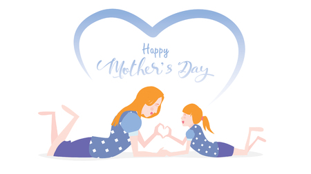 Happy mothers day! Cute Child daughter congratulates mom dancing, playing, laughing, and showing heart shape symbol. Colorful vector illustration flat design style. Flat cartoon style. - vector