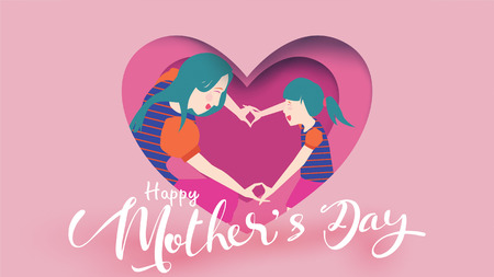 Happy mother's day! framing of Cute Child daughter congratulates mom dancing, playing, laughing, and showing heart shape symbol in paper cut style. Vector illustration flat design style. - vector