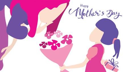 Happy mothers day! Child daughter congratulates mom and gives her flowers tulips. Mum smiling and surprising. Vector illustration flat design style. - Vector