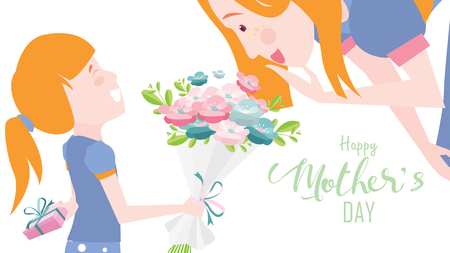 Happy mothers day! Child daughter congratulates mom and gives her flowers tulips. Mum smiling and surprising. Colorful vector illustration flat design style. Flat cartoon style. - vector