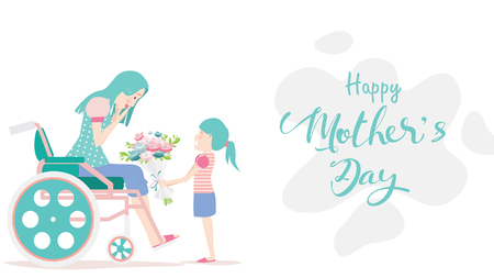 Happy mothers day! Child daughter congratulates disabled mum in wheelchair and gives her flowers tulips. Colorful vector illustration flat design style. Flat cartoon style. - vector