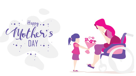 Happy mothers day! Child daughter congratulates disabled mum in wheelchair and gives her flowers tulips. Mum smiling and surprising. Vector illustration flat cartoon design style. - vector