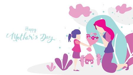 Happy mother's day! Child daughter congratulates mom and gives her flowers tulips. Mum smiling and surprising. Vector illustration flat design style. - Vector Ilustração