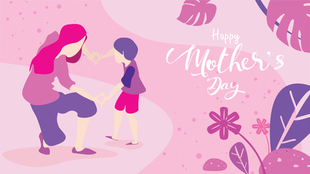 Happy mother's day! Cute little boy congratulates mom with dancing, playing, laughing, and together showing heart shape symbol. Vector illustration flat design style. Flat cartoon style. - Vector Ilustração