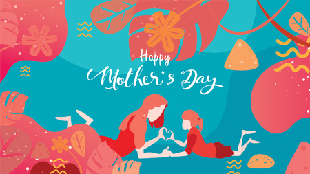 Happy mother's day! Child daughter congratulates mom playing and laughing with hands showing heart shape symbol. Vector flat cartoon design style with living coral color trendy 2019. - vector Ilustração