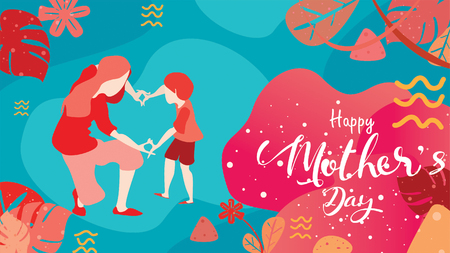 Happy mothers day! Child daughter congratulates mom playing and laughing with hands showing heart shape symbol. Vector flat cartoon design style with living coral color trendy 2019. - vector Ilustração