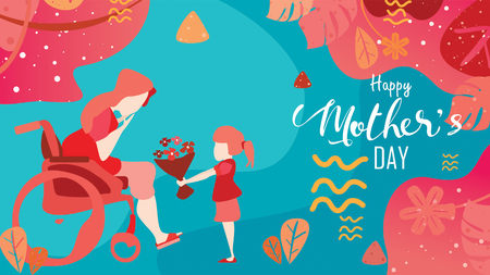 Happy mother's day! Child daughter congratulates disabled mum in wheelchair and gives her flowers tulips. Colorful vector illustration flat design style with living coral color trendy 2019. - vector Ilustração