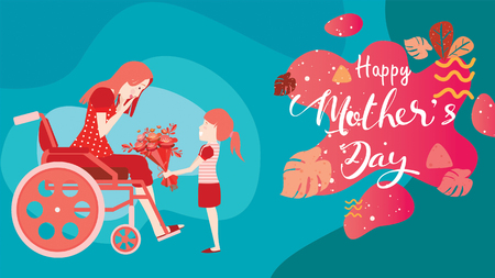 Happy mothers day! Child daughter congratulates disabled mum in wheelchair and gives her flowers tulips. Colorful vector illustration flat design style with living coral color trendy 2019. - vector