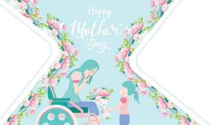 Happy mothers day banner. Child daughter congratulates disabled mum in wheelchair and gives her flowers tulips. Colorful vector illustration flat design style. Copy space for text. - vector