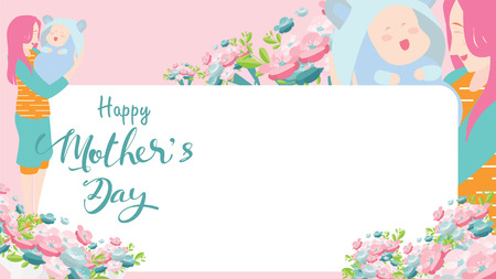 Happy mother's day greeting card. beautiful Mum smiling and holding healthy baby with happy. Colorful vector illustration flat design style. Flat cartoon style. Copy space for text. - vector