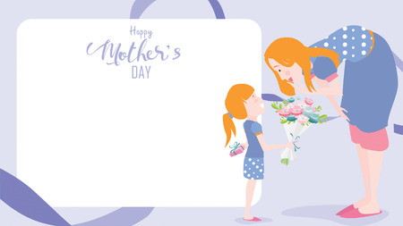 Happy mothers day greeting card. Child daughter congratulates mom and gives her flowers tulips. Vector illustration flat design style. flat cartoon style. Copy space for text. - vector Ilustração