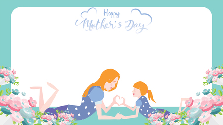 Happy mothers day banner. Child daughter congratulates mom with dancing, playing, and hands showing heart shape symbol. Colorful vector illustration flat design style. Copy space for text. - vector Ilustração
