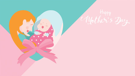Happy mother's day banner. Mum laughing, smiling, holding and hugging her baby with forming of heart shape or love symbol. Colorful vector illustration flat design style. Copy space for text. - vector