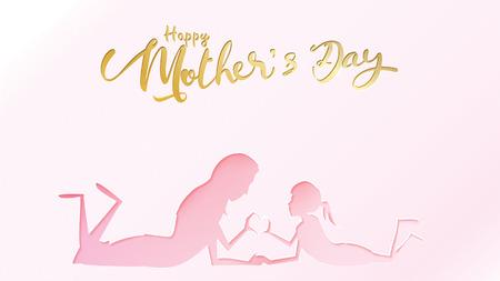 Glückliche Muttertagsgrußkarte. Kindertochter im Scherenschnitt gratuliert Mutter zum Spielen und Lächeln mit den Händen, die ein Herzformsymbol auf rosafarbenem Hintergrund zeigen. Vektor-Illustration. - Vektor Vektorgrafik