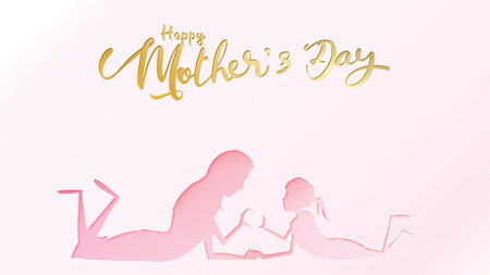Happy mother's day greeting card. Paper cut style child daughter congratulates mom with playing and smiling with hands showing heart shape symbol in pink background. Vector illustration. - Vector