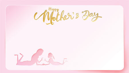 Happy mothers day greeting card. Paper cut style child daughter congratulates mom with playing and smiling with hands showing heart shape symbol in pink background. Vector illustration. - Vector