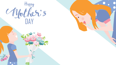 Happy mother's day greeting card. Child daughter congratulates mom and gives her flowers tulips. Vector illustration flat design style. flat cartoon style. Copy space for text. - vector