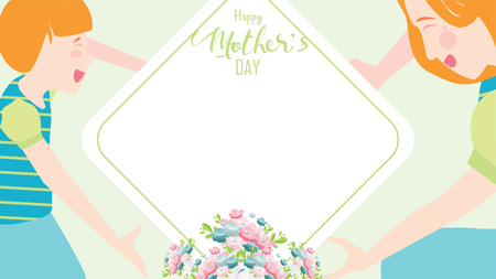 Happy mothers day banner. Child daughter congratulates mom playing and smiling happiness together with hands showing heart shape symbol. Copy space for text. Vector flat design style. - vector Ilustração