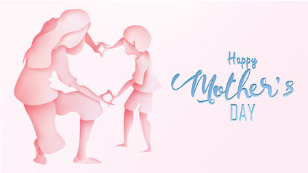Happy mother's day greeting card. Paper cut style Cute little boy congratulates mom with dancing, playing, and hands showing heart shape symbol in pink background. Vector illustration. - Vector Ilustração