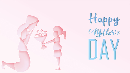 Happy mothers day greeting card. Paper cut style child daughter congratulates mom and gives her flowers tulips in pink background. Vector illustration. Copy space for text. - Vector
