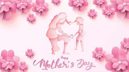 Happy Mothers day greeting card. Paper cut style little boy congratulates mom with dancing, playing, and hands showing heart shape symbol with abstract flower. Vector illustration on pink. - Vector