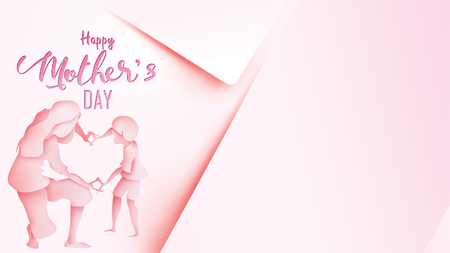 Happy mothers day greeting card. Paper cut style little boy congratulates mom with dancing and hands showing heart shape symbol in pink background. Vector illustration. Copy space for text. - Vector