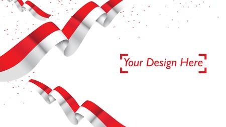 Indonesische patriotische Hintergrundvorlage mit leerem Platz für Text, Design, Feiertage, Unabhängigkeitstag. Willkommen im Indonesien-Konzept - Vector