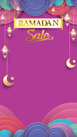 Eid Mubarak or ramadan kareem for story sale banner, poster, concept, background, template. Copy space for discount tag or content promo product - Vector Vetores